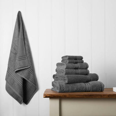 Our towel bale offers 7 dark grey towels including 1 large bath sheet, 2 bath towels, 2 hand towels, 2 face cloths