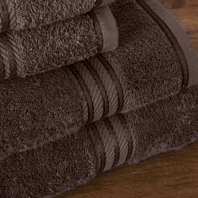 Hampton and Astley 100% Egyptian Cotton 7 Piece Luxury Bath Towel Set, Chocolate