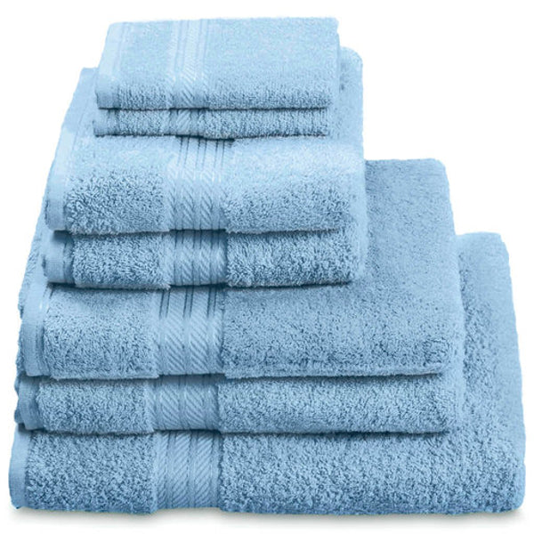 Hampton and Astley 100% Egyptian Cotton 7 Piece Luxury Bath Towel Set, Cobalt Blue