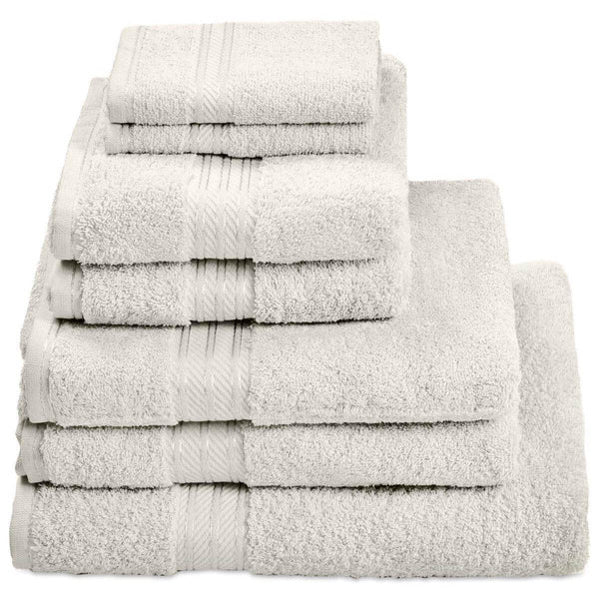 Hampton and Astley 100% Egyptian Cotton 7 Piece Luxury Bath Towel Set, Cream