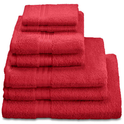 Hampton and Astley 100% Egyptian Cotton 7 Piece Luxury Bath Towel Set, Celebration red