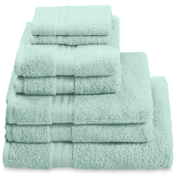 Hampton and Astley 100% Egyptian Cotton 7 Piece Luxury Bath Towel Set, Seafoam Green