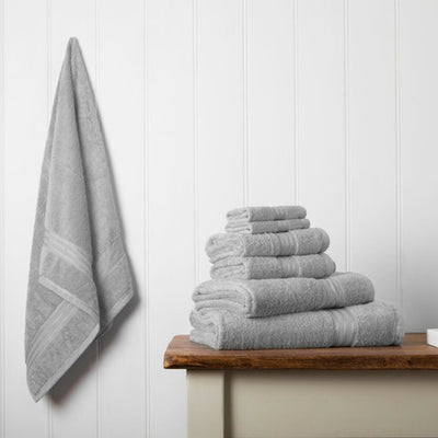 Hampton and Astley 100% Egyptian Cotton 7 Piece Luxury Bath Towel Set, Subtle Grey