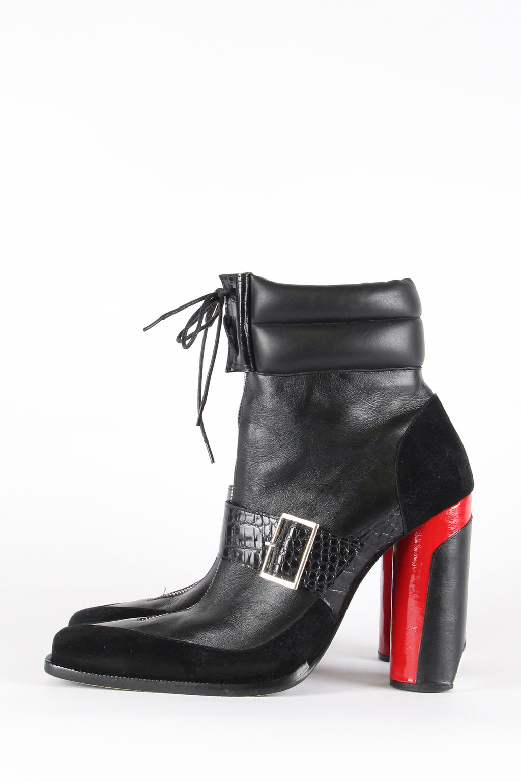 PRE-ORDER Black and Red Buckle Booties