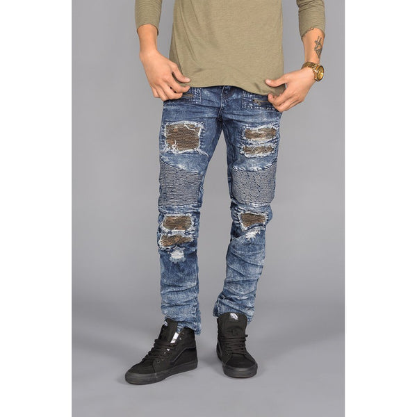 Distressed Patched Moto Jeans in Dark Indigo
