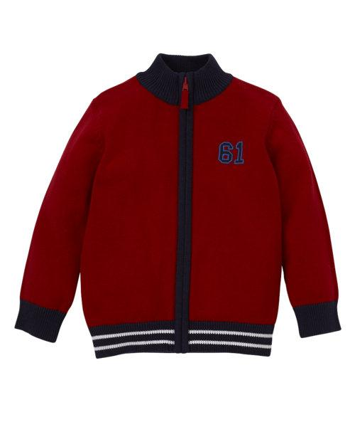 Mothercare Red Funnel Neck Zip Through Cardigan ( Red and Blue)