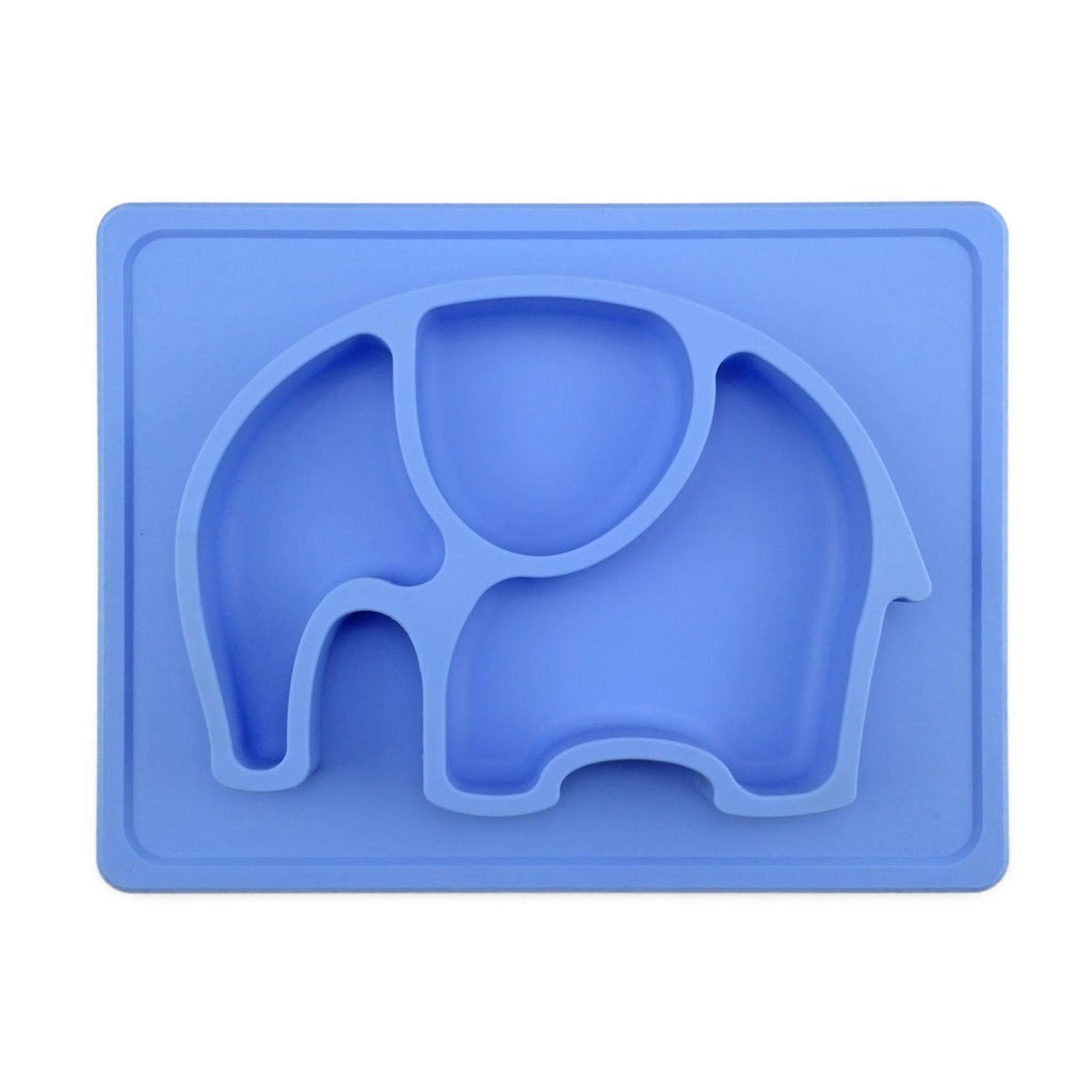 One piece place silicone suction plate-blue