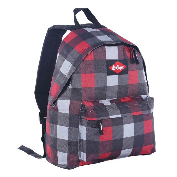 lee cooper red and grey checked backpack