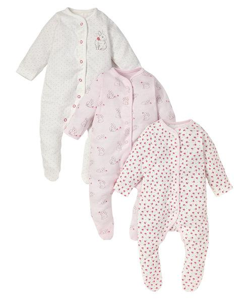 Mothercare Newborn Bunny Sleepsuits - 3 Pack Light pink