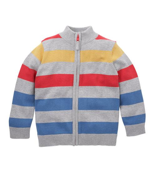 Mothercare Striped Zip Through Cardigan ( Grey/Red/yellow/ blue)