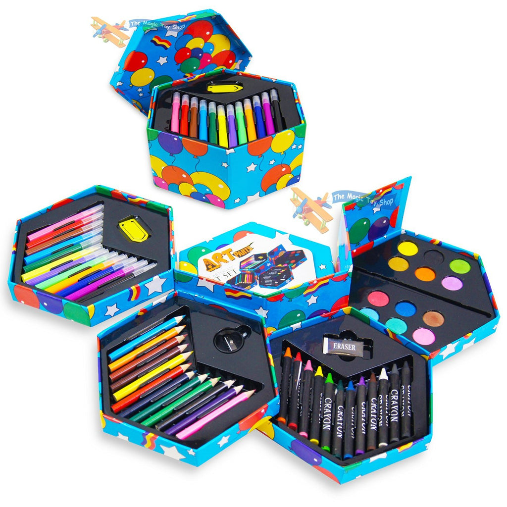 52 piece hexagonal shaped arts and crafts set