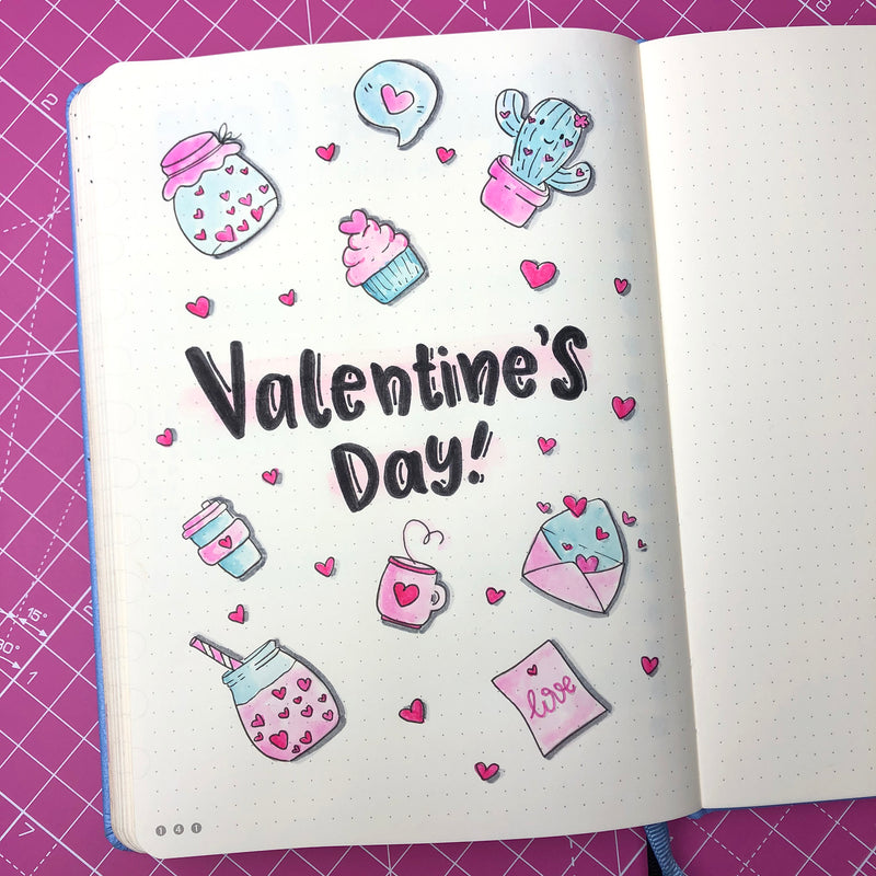Celebrating Valentine's Day in your Dingbats* Notebook