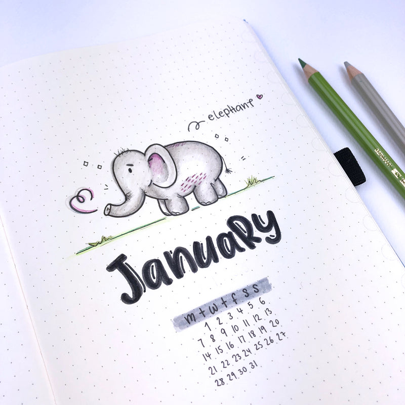 Dingbats* Notebook WWF 🐼 theme spreads for January