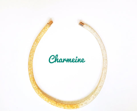 Dual tone Rhinestone Mesh Chain is a beautifully designed Chains that would elegantly go with your winter/summer wear - Charmeine Apparel & Accessories