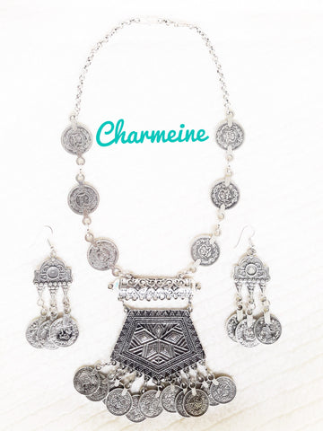 GS Indian Vintage Coin Necklace with earrings is a beautifully designed Necklaces that would elegantly go with your winter/summer wear - Charmeine Apparel & Accessories