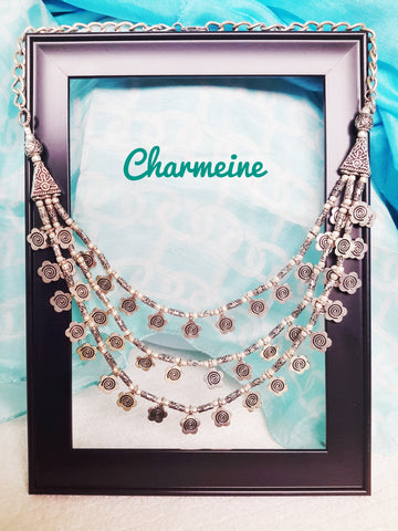 Multi-layered German Silver Necklace (Available in two variants) is a beautifully designed Necklaces that would elegantly go with your winter/summer wear - Charmeine Apparel & Accessories