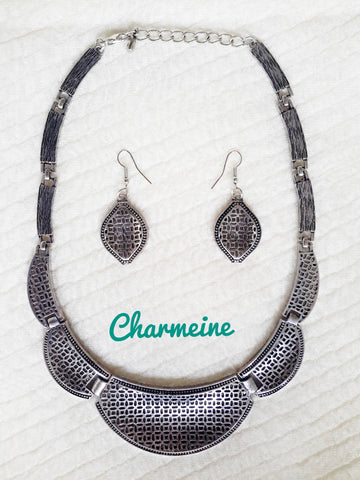 GS Vintage Necklace with earrings is a beautifully designed Necklaces that would elegantly go with your winter/summer wear - Charmeine Apparel & Accessories