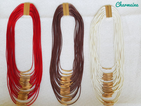 Multi Layered Leather Chain with bent pipes (Colors available) is a beautifully designed Chains that would elegantly go with your winter/summer wear - Charmeine Apparel & Accessories