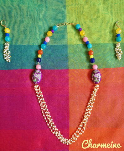 Cabochon with Agate crystal beads (Colors available) is a beautifully designed Necklaces that would elegantly go with your winter/summer wear - Charmeine Apparel & Accessories