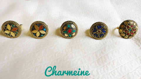 Tibetan Adjustable Round Finger Rings (Colors available)