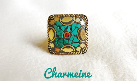 Tibetan Ajustable Square Finger Ring is a beautifully designed Finger Rings that would elegantly go with your winter/summer wear - Charmeine Apparel & Accessories