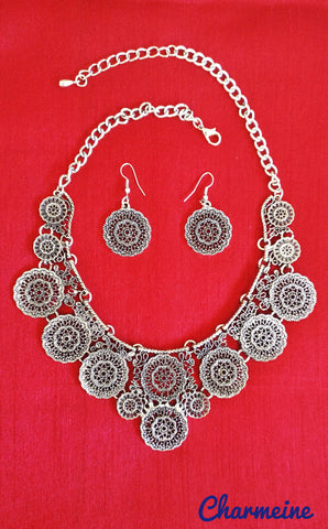 GS Victorian Necklace with earrings is a beautifully designed Necklaces that would elegantly go with your winter/summer wear - Charmeine Apparel & Accessories