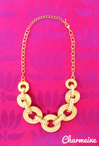 Triple Ring Gold Chain is a beautifully designed Chains that would elegantly go with your winter/summer wear - Charmeine Apparel & Accessories