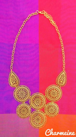 Antique Gold Circle Necklace is a beautifully designed Necklaces that would elegantly go with your winter/summer wear - Charmeine Apparel & Accessories