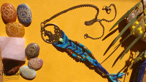 Handwoven Dream Catcher Necklace with Moon Pendant