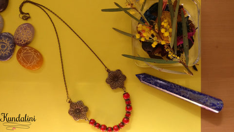 Red Turquoise Flower Connector Necklace