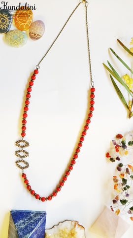 Red Turquoise Antique Branches Necklace