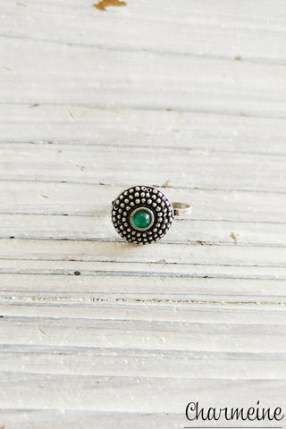 Circular Dotted Color Stone Nose Pin