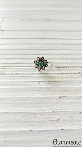 Color Stone Flower Nose Pin