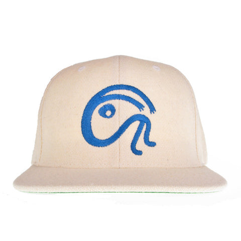 """ITS A WOOL THING"" NATURAL WHITE WOOL EMBLEM SNAPBACK CAP"