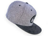GREY AND BLACK SUEDE VISOR EMBLEM SNAPBACK CAP