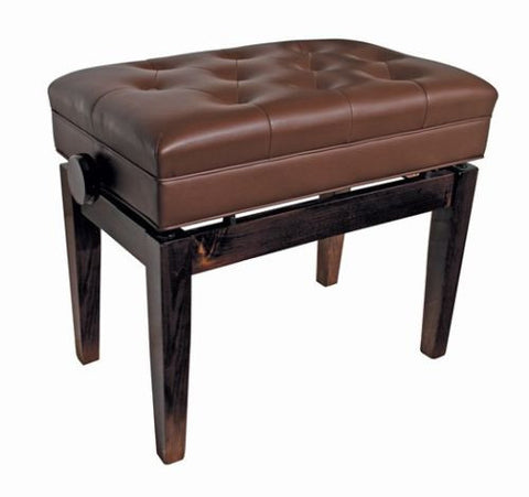 Piano Stool Wooden Bench Height Adjustable Storage Polished Walnut