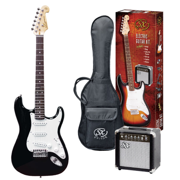 Gift Ideas | SX 4/4 Size Stratocaster Electric Guitar Kit - Black
