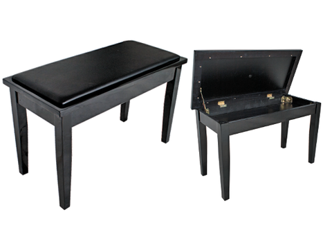 Black Piano Keyboard Stool with Book Compartment