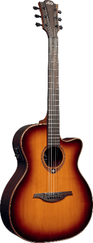Lag Tramontane T100ACE Auditorium Cutaway Acoustic/Electric Sunburst
