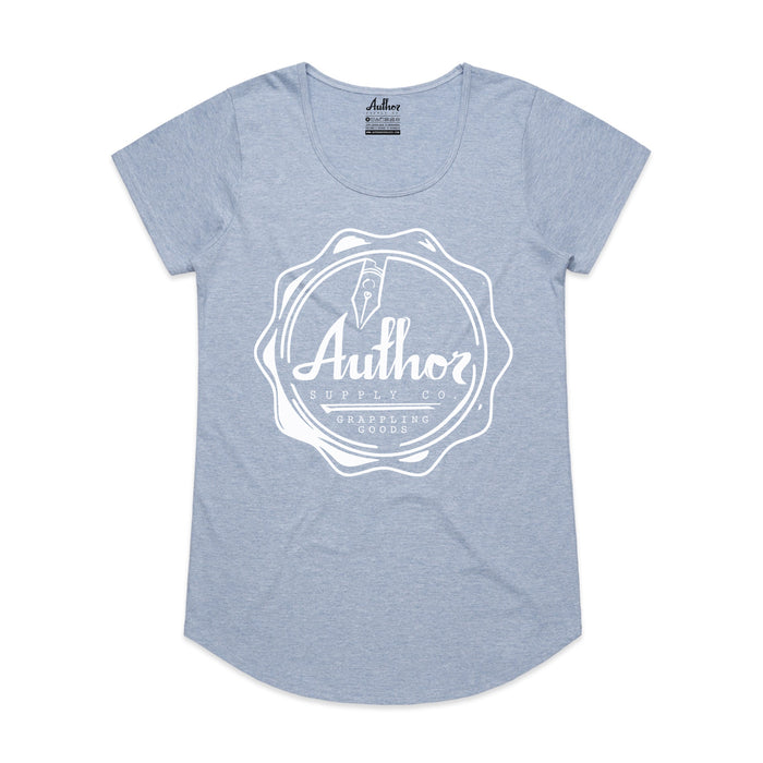 WOMENS WAX SEAL TEE (LIGHT BLUE MARLE)