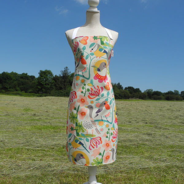 Front view of Bright Birds apron by Rollerdog