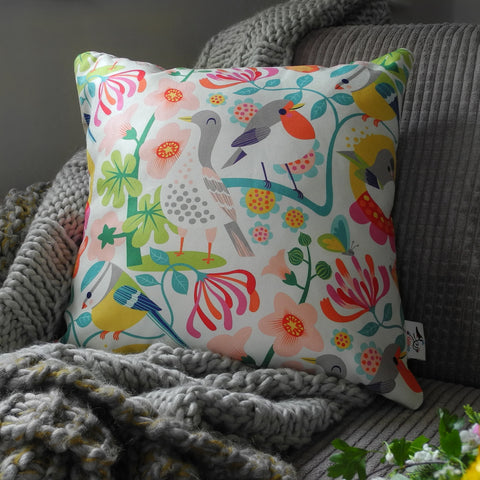 Bright Birds Cushion, Medium Square