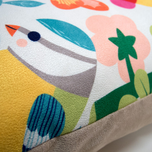 Close up of Bright Birds Cushion by Rollerdog