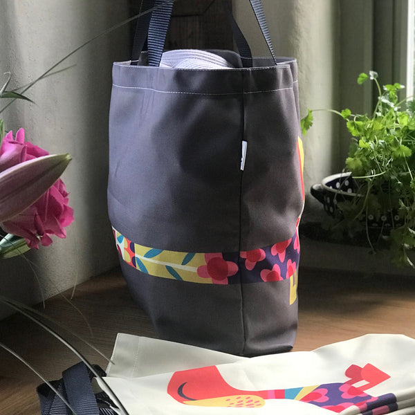 Dashing Dachshunds Tote Bag in Grey