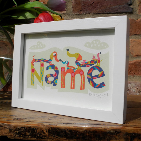 Dashing Dachshunds personalised print by Rollerdog