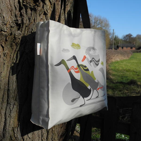 The side view of a Three Ducks from Derbyshire tote bag