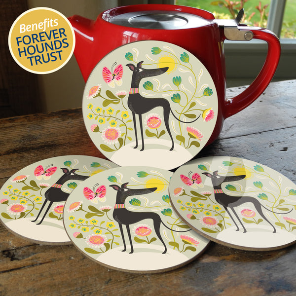 Freddie the Tripod coaster set, with 10% of profits going to Forever Hounds Trust