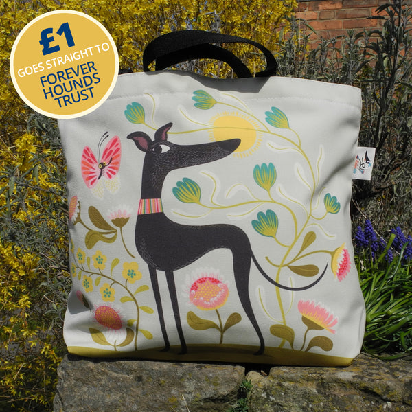 Freddie the Tripod tote bag by Rollerdog - front view, with £1 going to Forever Hounds Trust