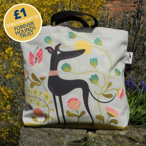 Freddie the greyhound tote bag by Rollerdog - front view