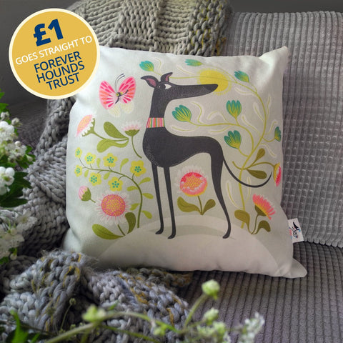 Freddie the Tripod cushion by Rollerdog, with £1 going to Forever Hounds Trust